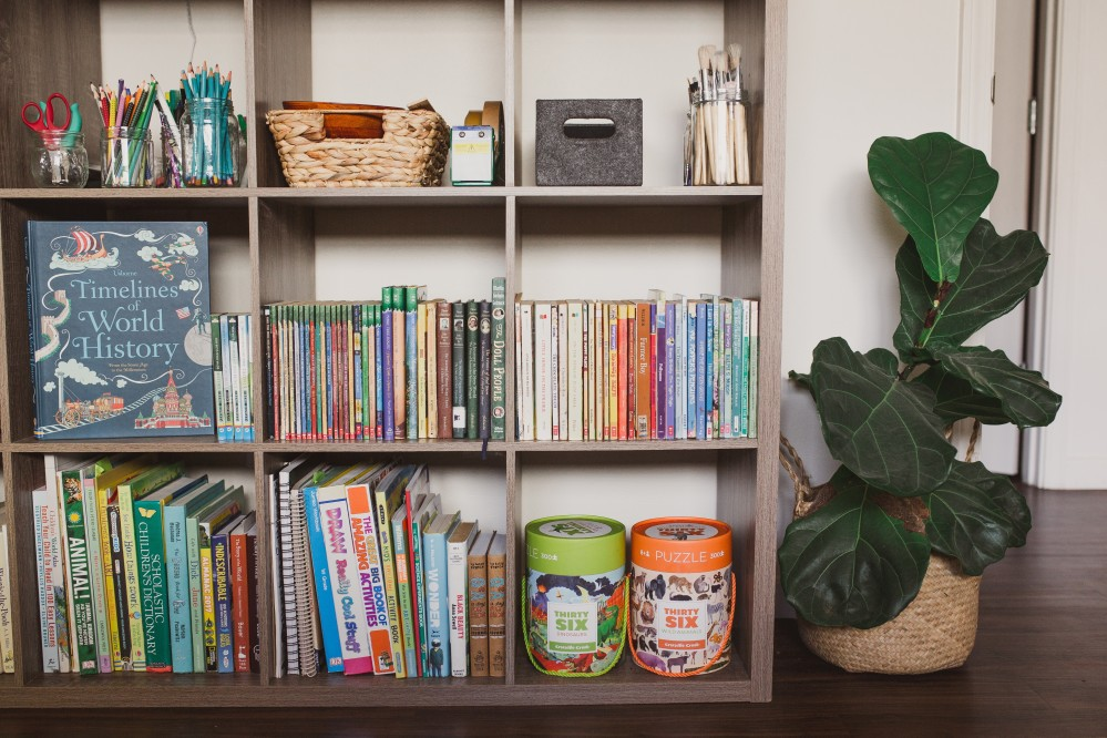 home schools shelves with organized supplies